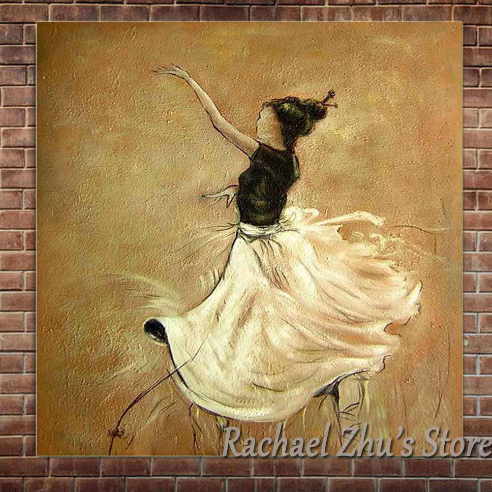 Hand Painted Abstract Dancing Girl Oil Paintings On Canvas Figure ...