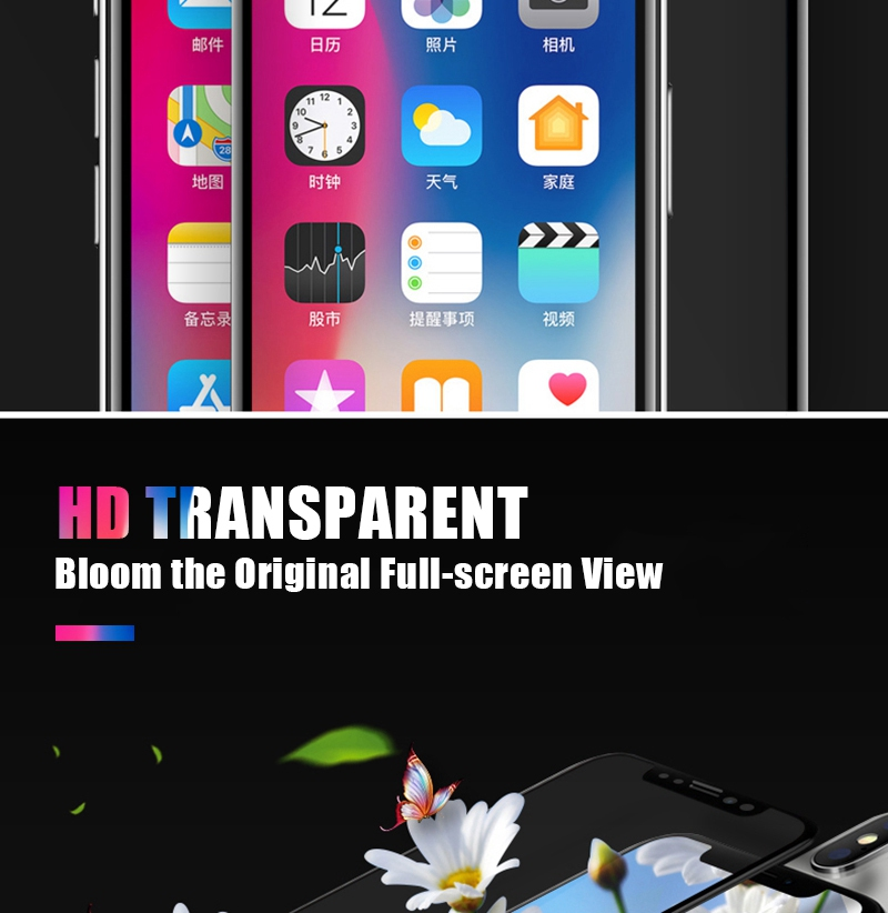 Artisome Glass on the For iPhone 6 6s Screen Protector 6D Edge Full Cover Protective Glass on the For iPhone X 10 7 8 Plus       (9)