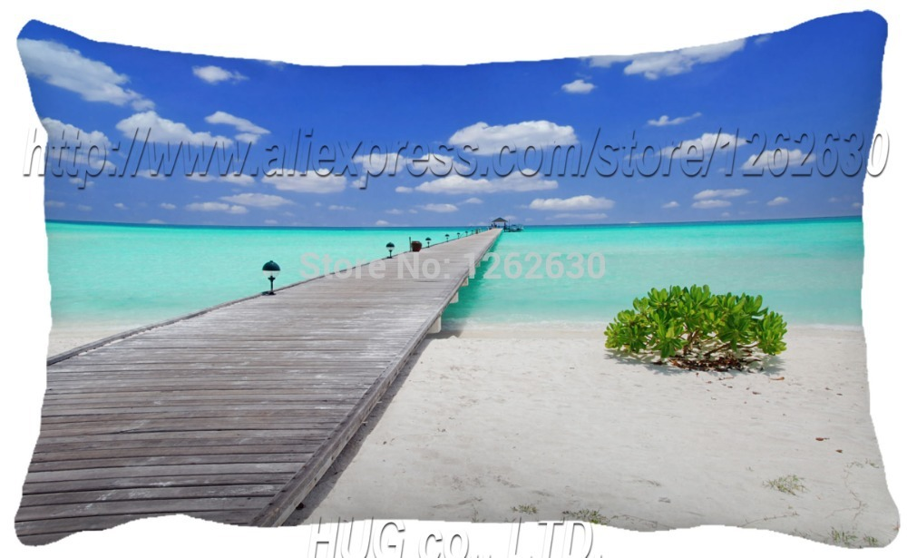 30X50 CM White romantic beach creative OME photo print cushion