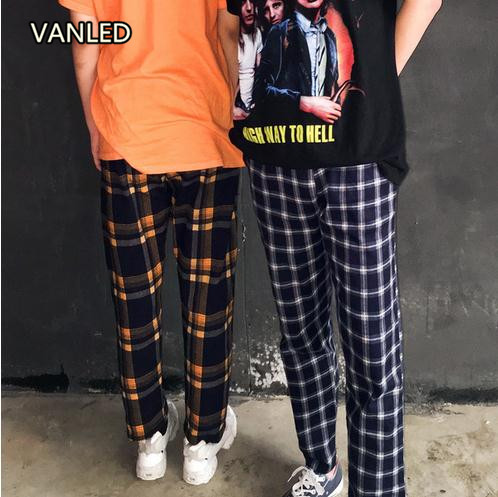 Vintage Retro Harajuku Casual Plaid Pants Loose Couple Straight Ankle length Pants