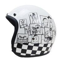 Japan stijl Carton ontwerp 3/4 Open gezicht motorhelm DOT ECE goedgekeurd Jet stijl motorhelm Glasvezel shell licht