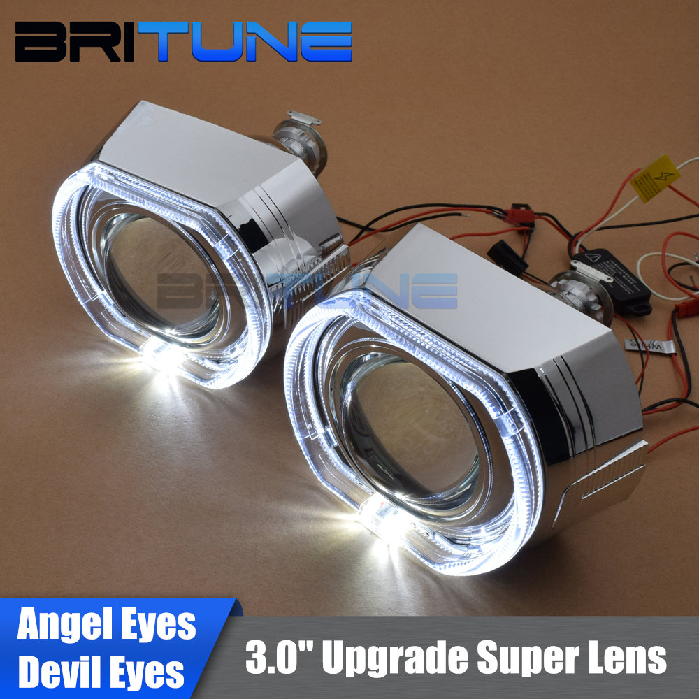 3 0 Super Upgrade LED Angel Eyes Demon Eyes HID Bi xenon Headlight Projector Lens For