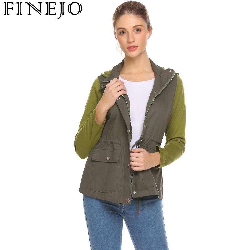 FINEJO Outwear Casual Women Hooded Patchwork Contrast Color   Jacket   Bolero Shrug   Basic     Jacket   Autumn Fashion Slim Fit