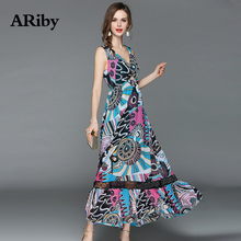 Women Dress Summer Maxi Long ARiby New Lady Fashion Bohemian V-Collar Hollow Out Lace Sleeveless Printed A-Line Dresses
