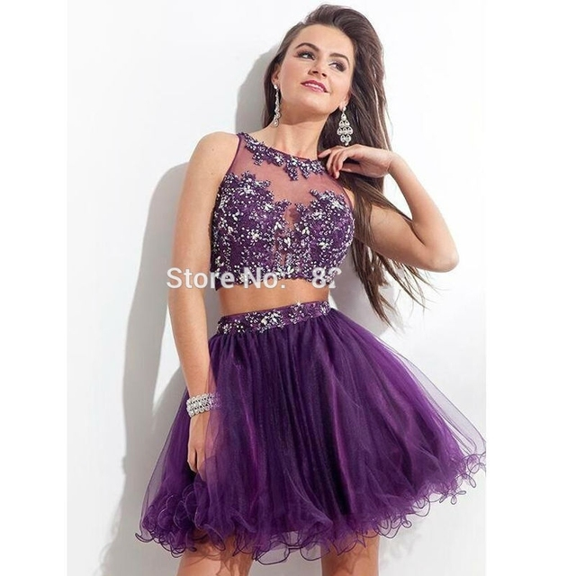 038548f78346 Sexy Purple Lace Short Sequin Homecoming Dresses 2016 Beaded 8th Grade Prom  Dresses Semi Formal Dresses