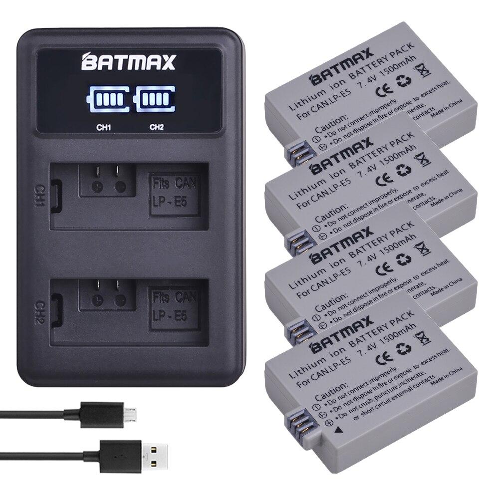 4X1500mAh LP E5 LPE5 LP E5 Batteries+LED Dual USB Charger for Canon EOS 450D 500D 1000D Kiss X3 Kiss F Rebel Xsi