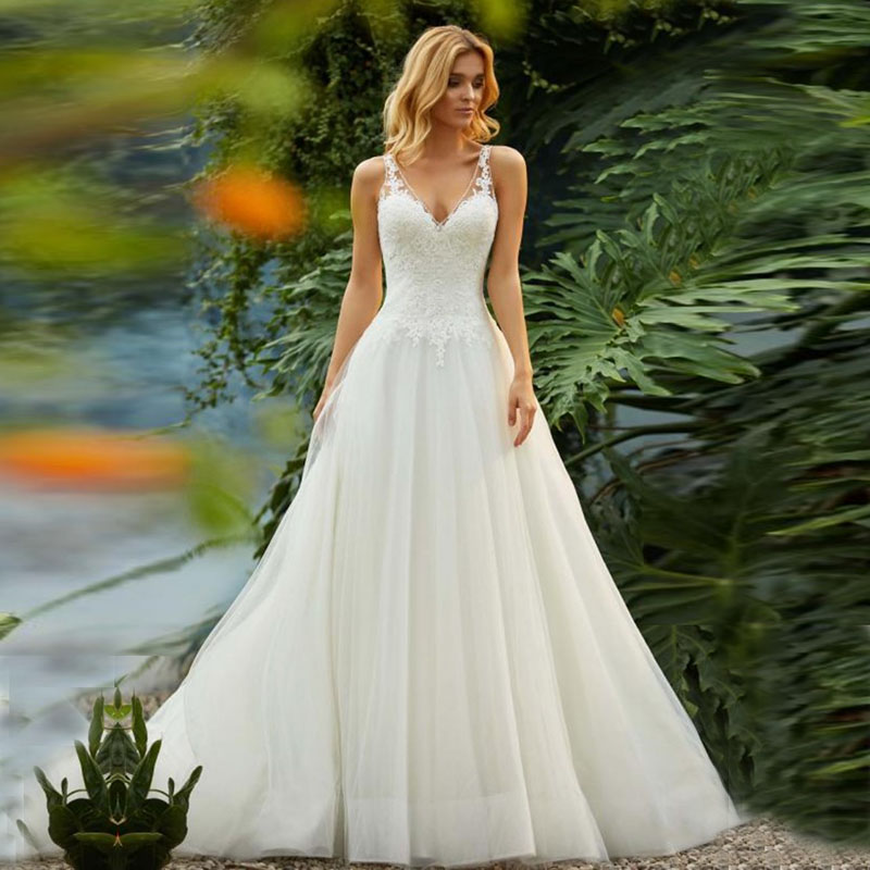Eightale Vintage Wedding Dresses Backless V-Neck Appliques A-Line Tulle Robe De Mariee Simple Lace Wedding Gowns Bridal Dress