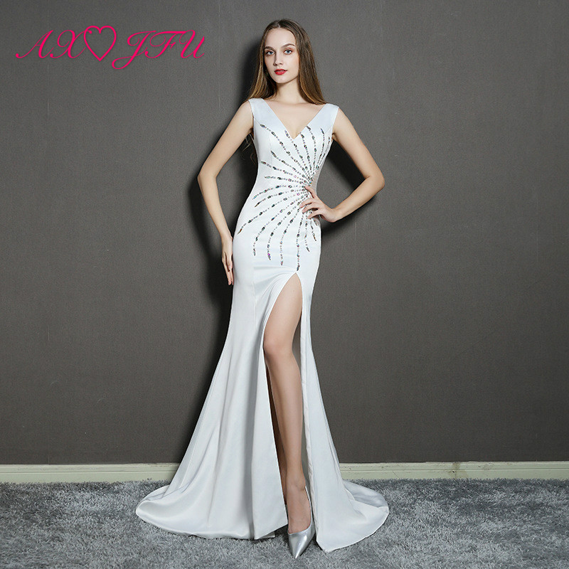 AXJFU princess white chiffon v neck trumpet   evening     dress   beading crystal sleeveless stage beach long mermaid   evening     dress