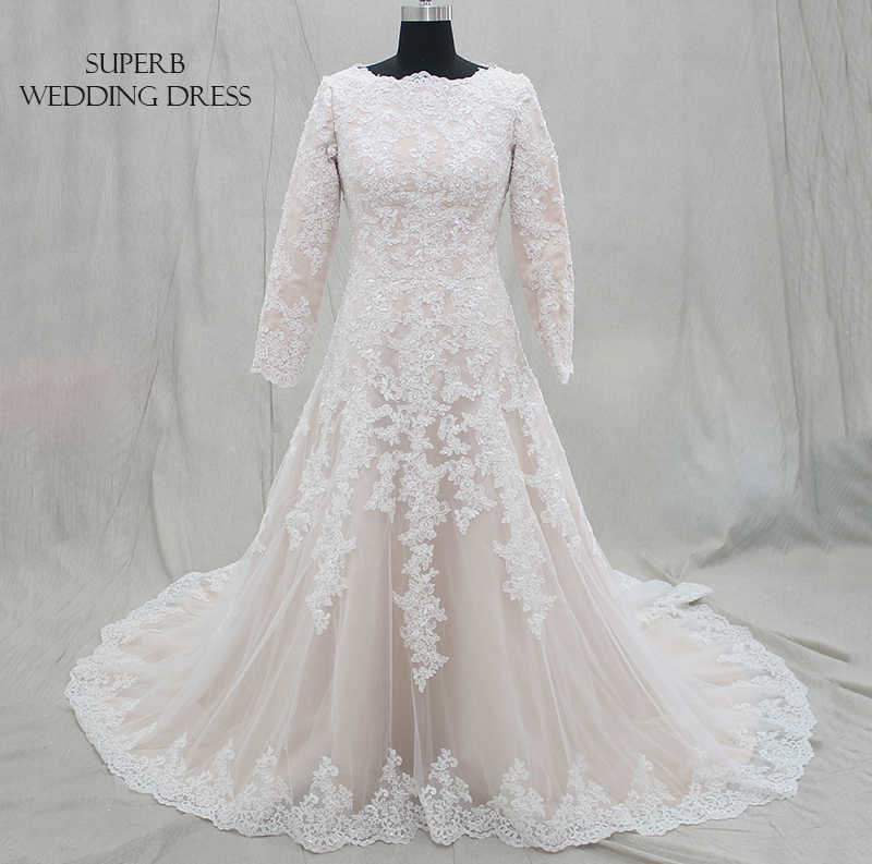 Modest Muslim Wedding Dress Champagne With Long Sleeves Bridal Gown Dresses For Bride Custom Made To Order Superbweddingdress
