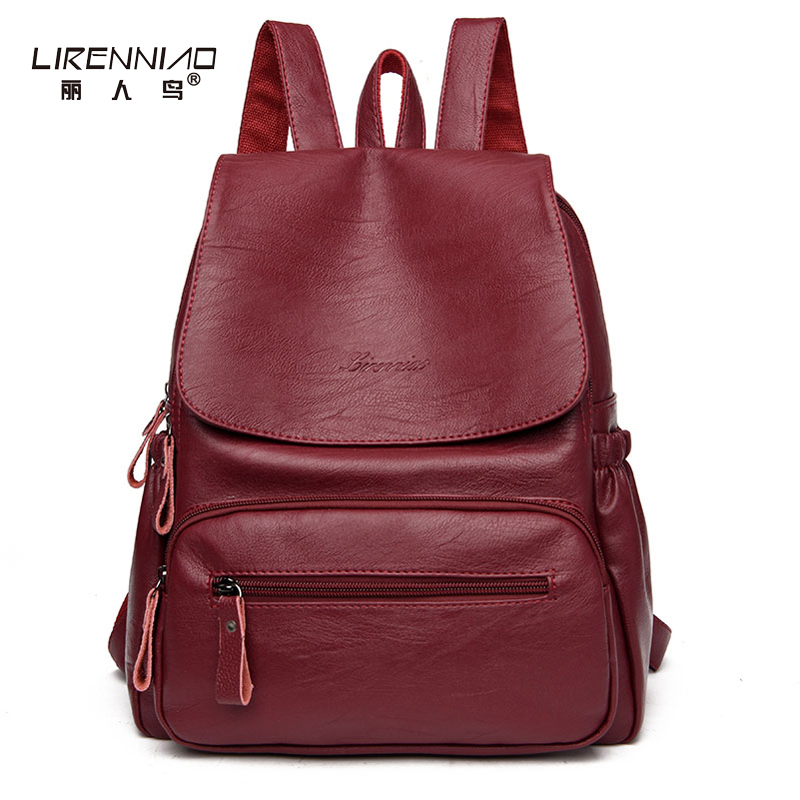 LIRENNIAO Women Leather Backpack School Bags For Teenagers Girl's Large Bag Sac A Main Vintage Designer High Quality Backpacks