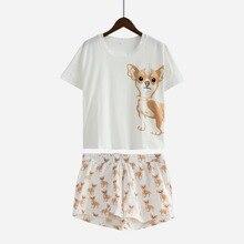 Милые Пижамы для девочек хлопок Чихуахуа принт укороченный топ и шорты Комплект из 2 предметов собака пижамы свободные Топы корректирующие эластичный пояс Повседневное S61003