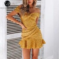 Lily Rosie Girl Off Shoulder Yellow Casual Dress Ruffles Cotton Boho Women Dress Dot Mini Sexy Beach Dress Vestidos White