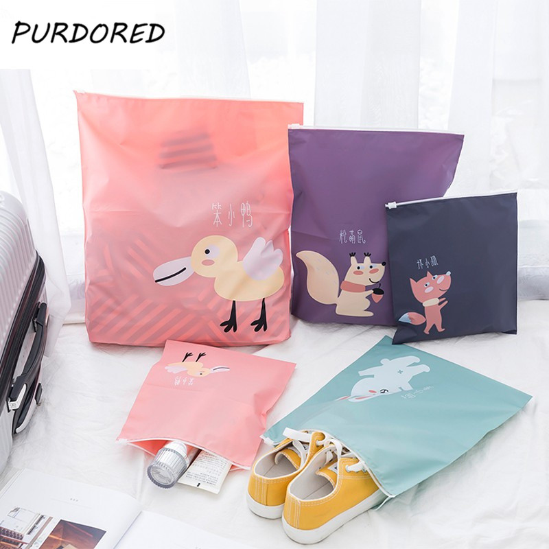 PURDORED <font><b>3</b></font> Pcs /<font><b>set</b></font> Cartoon Zipper <font><b>Cosmetic</b></font> <font><b>Bag</b></font> PEVA Waterproof <font><b>Travel</b></font> Organizer <font><b>Bag</b></font> Women Makeup <font><b>Bag</b></font> Toiletry Storage Kit <font><b>Bag</b></font> image