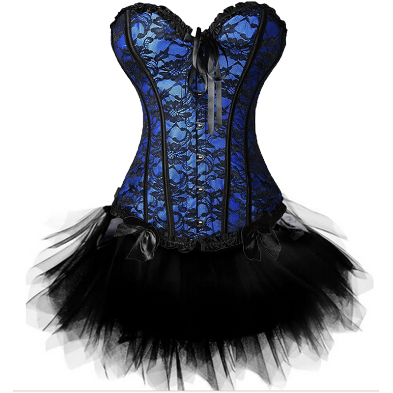 Women Sexy Burlesque Overbust Corset Bustier Top With Mini TuTu Skirt Fancy Dresses Costume Sexy Gothic Corsets Dress 4
