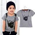 Excelente Camiseta T Boy Cámara Niños Camisetas de Manga Corta O Cuello de la Camiseta Camisetas Ropa de Los Niños Libres Del Envío de Verano ropa