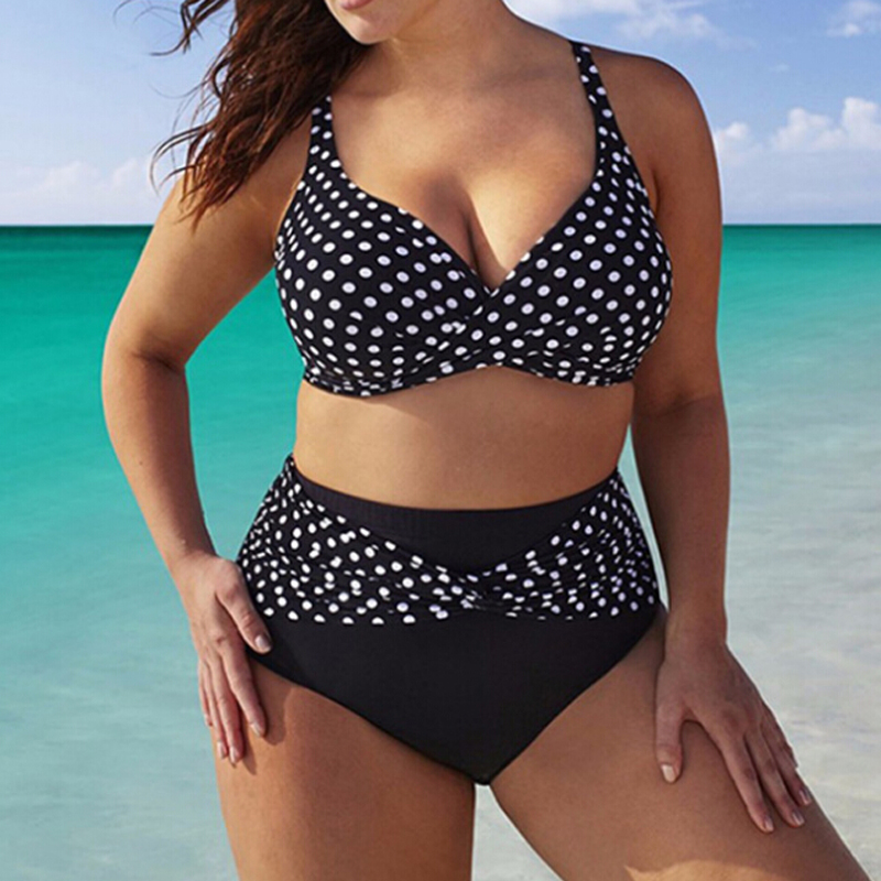 Summer Swimwear Women Bikini Large Size <font><b>5XL</b></font> Two Pieces 2019 <font><b>Mujer</b></font> Dot Print High Waist <font><b>Sexy</b></font> Beach Wear Bathing Suit Fashion D30 image