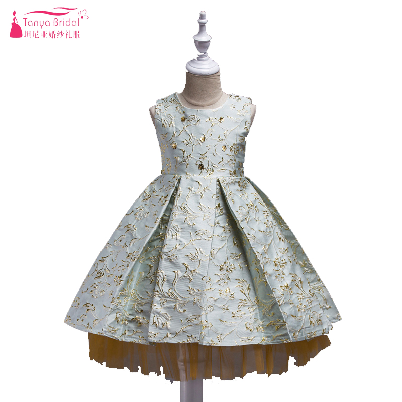 Luxury   Flower     Girls     Dresses   Gilt Embroidery Skirt Jewel A Line   Girls   special Party Gowns Communion Gowns In Stock ZF041