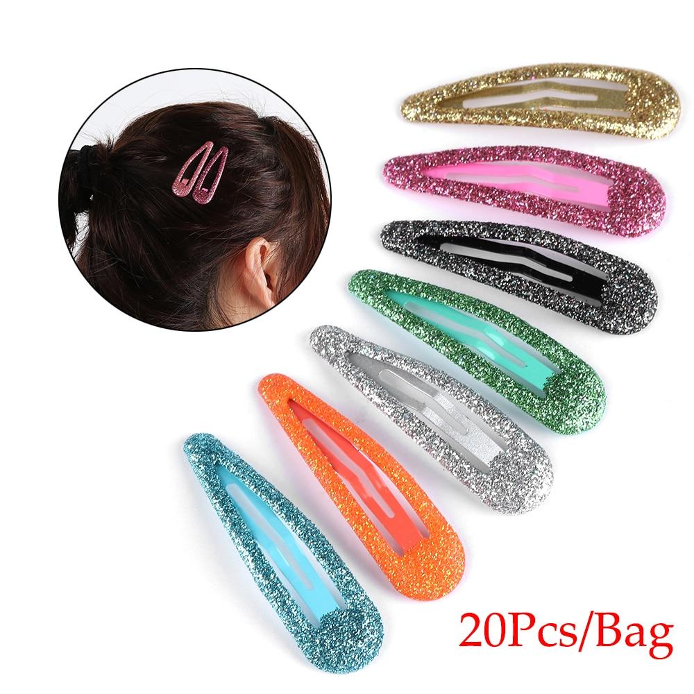20pcs Glitter Hairpins Snap Hair Clip For Children Kids Hair Clip Pins For Baby Girls Hair Accessories Cute Metal Barrettes 5cm