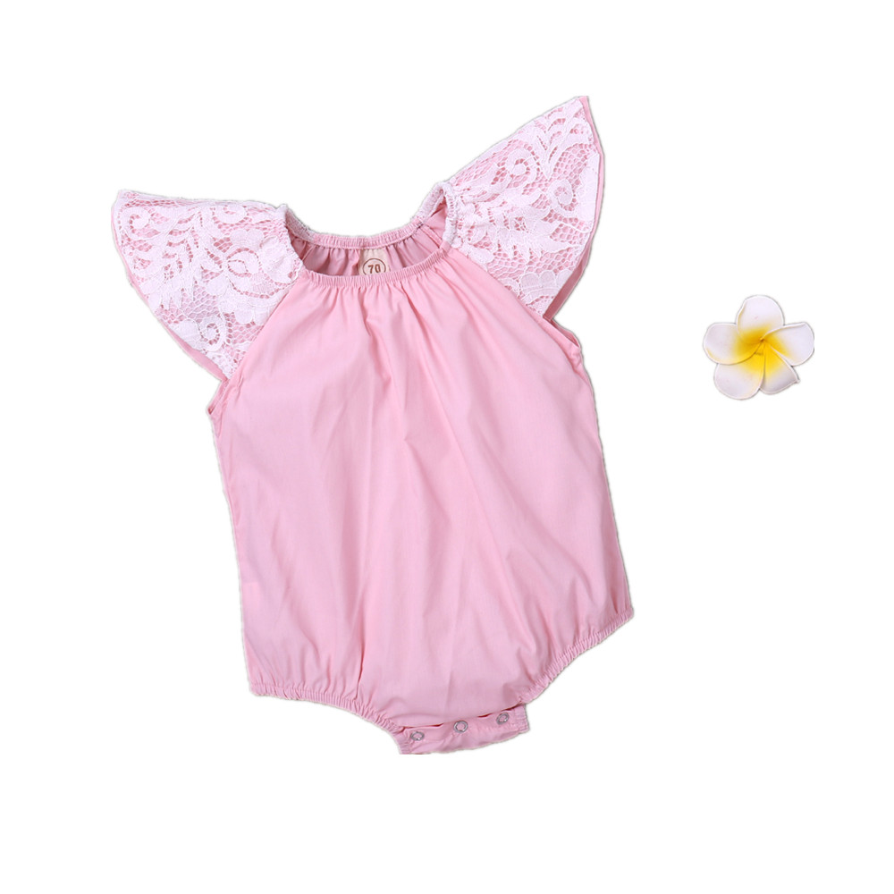 Baby Girl Summer Bodysuits Pink Cotton Short Sleeve Newborn Onesie Cute Infant One Piece Coveralls Outerwear Children Sunsuit