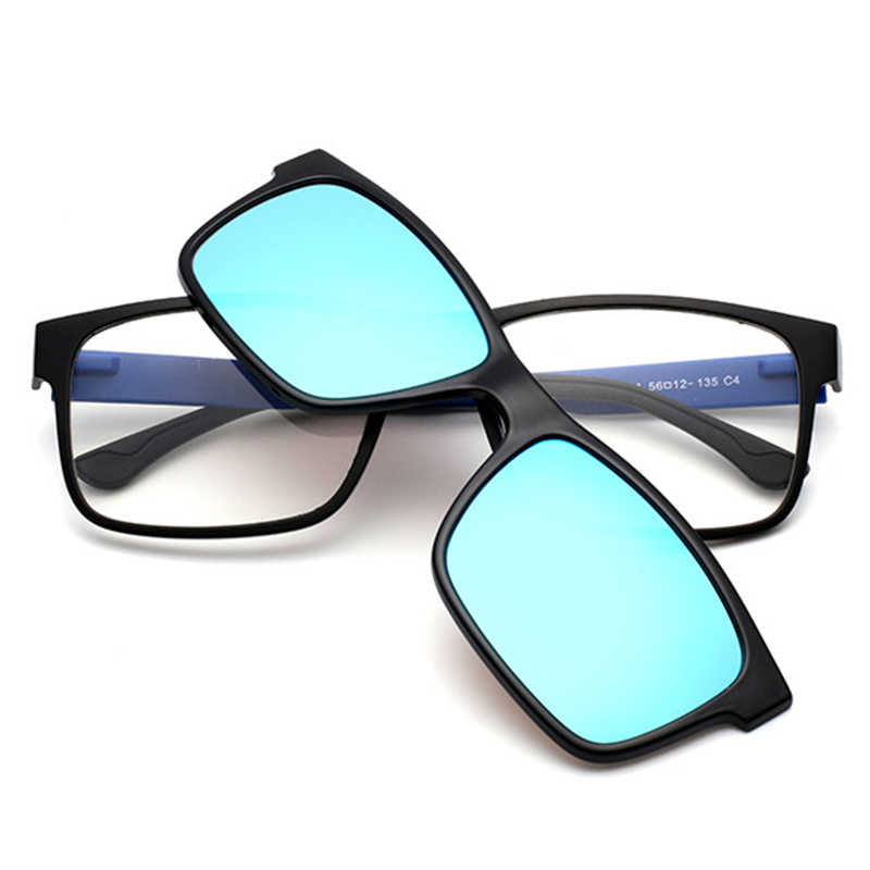 Optical Eyeglasses Frame Men Women With Clip On Magnets Polarized Sunglasses Myopia Eye Glasses Spectacle Frame QF053