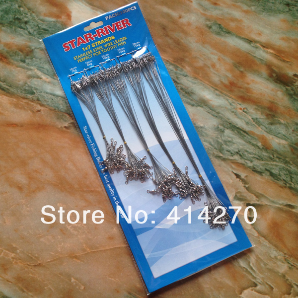 100 pcs Fishing Trace Lures Leader Steel Wire Spinner 16/18/22/24/28cm Silver Free Shipping