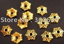 FREE SHIPPING 600pcs Antiqued gold plt  flower bead caps 8mm A2G