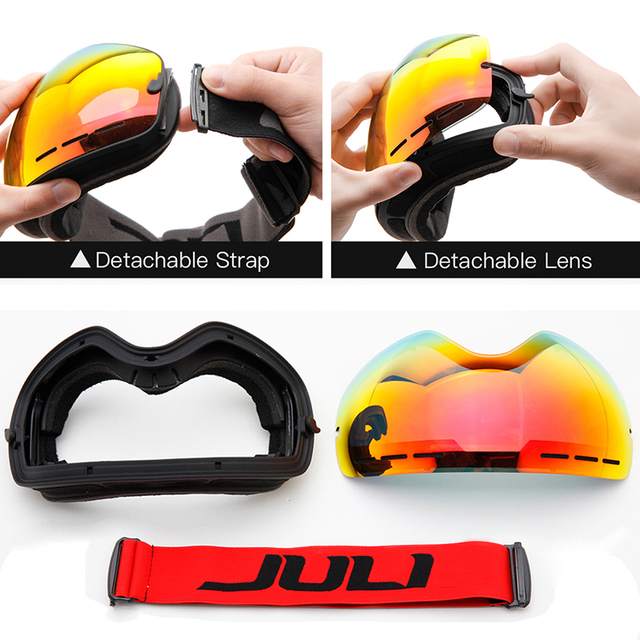 Unisex Skiing and Snowboard Anti-fog Goggles with UV Protection