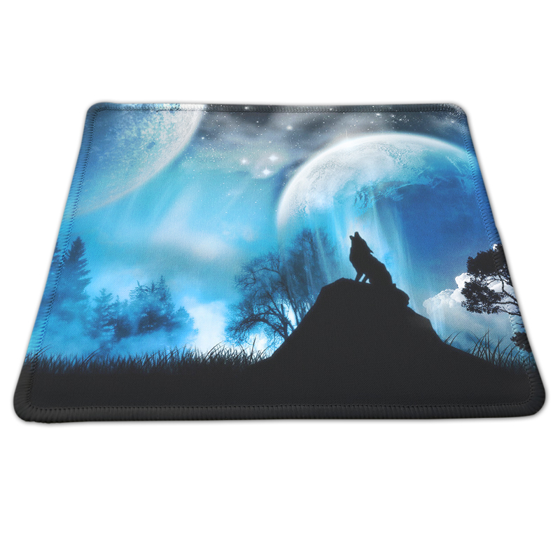 DIY Design Beautiful Wolf Under Moon Painting Custom Mouse Pad Non-slip Gaming Mousepad  ...