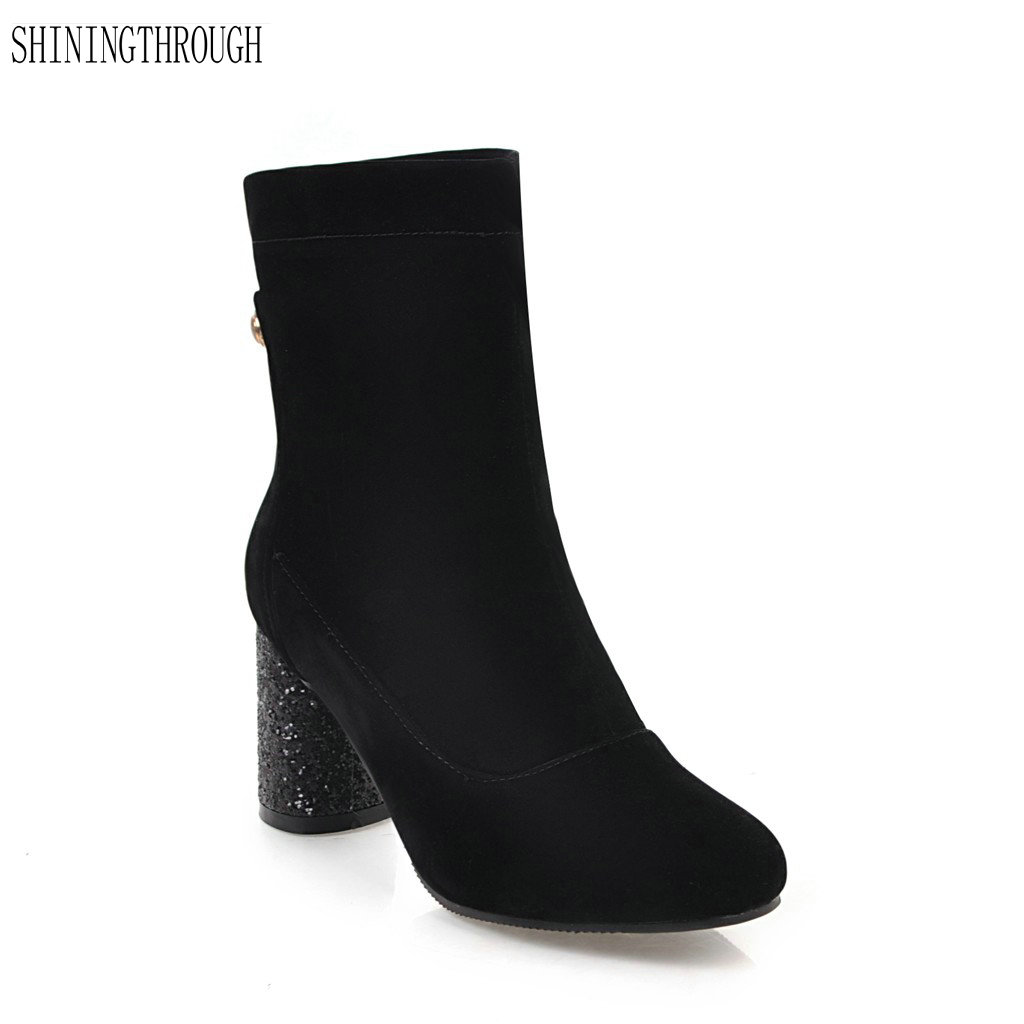 Buy shiny ankle heel boots and get free shipping on AliExpress.com 842ffd31e0f7