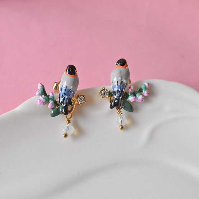 Les Nereides Enamel Stud Earrings For Women Romantic Bird Pink Cherry Series  Jewelry Fashion Accessories Top Quality
