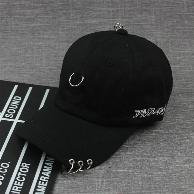 nouvelle arrivee 37a3b 1fe01 Coréen hommes femmes G Dragon Design casquette de Baseball avec anneau en  métal mode hommes été noir blanc coton casquette pour 2018