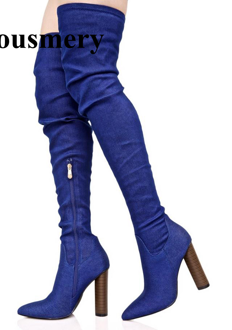 New Design Women Fashion Pointed Toe Blue Denim Over Knee Thick Heel Boots Stretch Long Slim Bandage High Heel Boots Sexy Shoes 2016 new summer light blue bandage rings denim shorts fashion personality punk harajuku foot garter punk short pants sexy women
