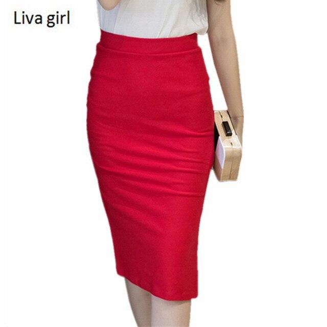 cbfef55334 Womens Red Skirts 2018 Spring Elastic Elegant Sexy High Waist Skirt Black  Office Lady Formal Long Pencil Skirts Plus Size S-5XL