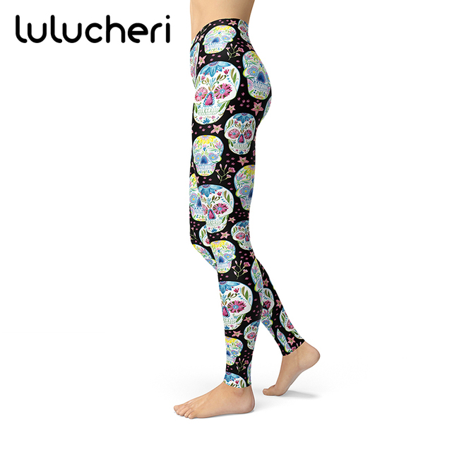 caf27de02fce8 Women Girls Candy Skull Printed Leggins Brushed Buttery Soft Pants Sugar  Mexico Day of the Dead High Waist Plus Fitness Legging