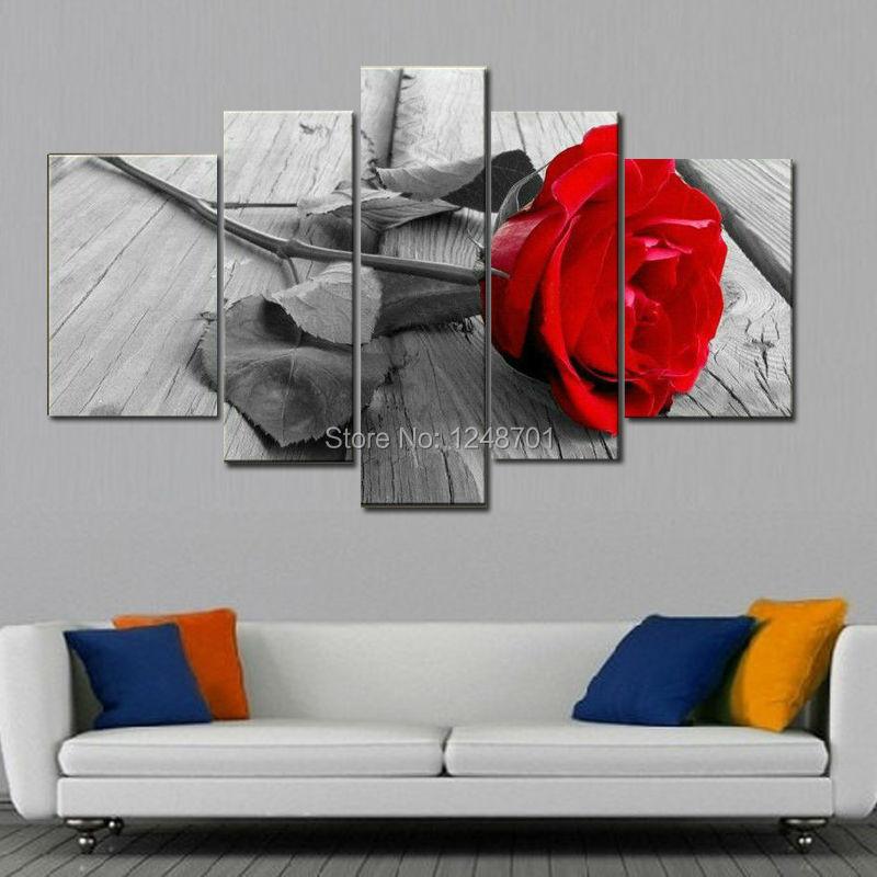 5 sztuk nowoczesne malarstwo olejne na płótnie kwiaty czerwona róża obraz do sypialni wallart dekoracji duża