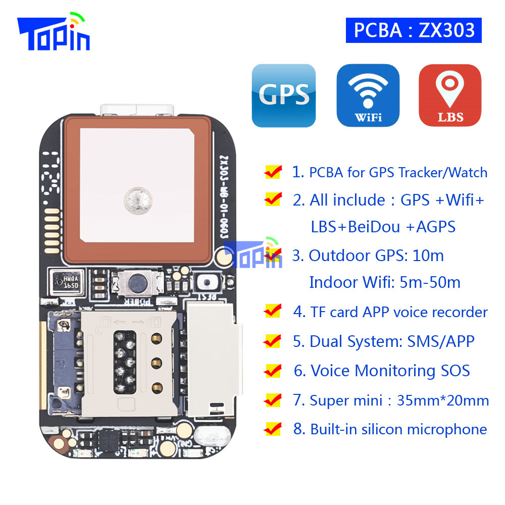 TOPIN S3 GPS Tracker GSM GPS Wifi S7 Locator Alarm Web APP Tracking TF Card…