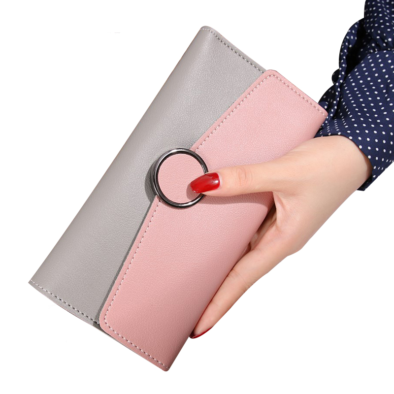 Women Wallet Leather Card Coin Holder Money Clip Long Phone Clutch 2017 Hot Sale Three Fold Fashion Famous Brand Female Purse luxury leather zipper women long slim wallet ladies handbag clutch card money coin phone holder portomonee female wristlet clip
