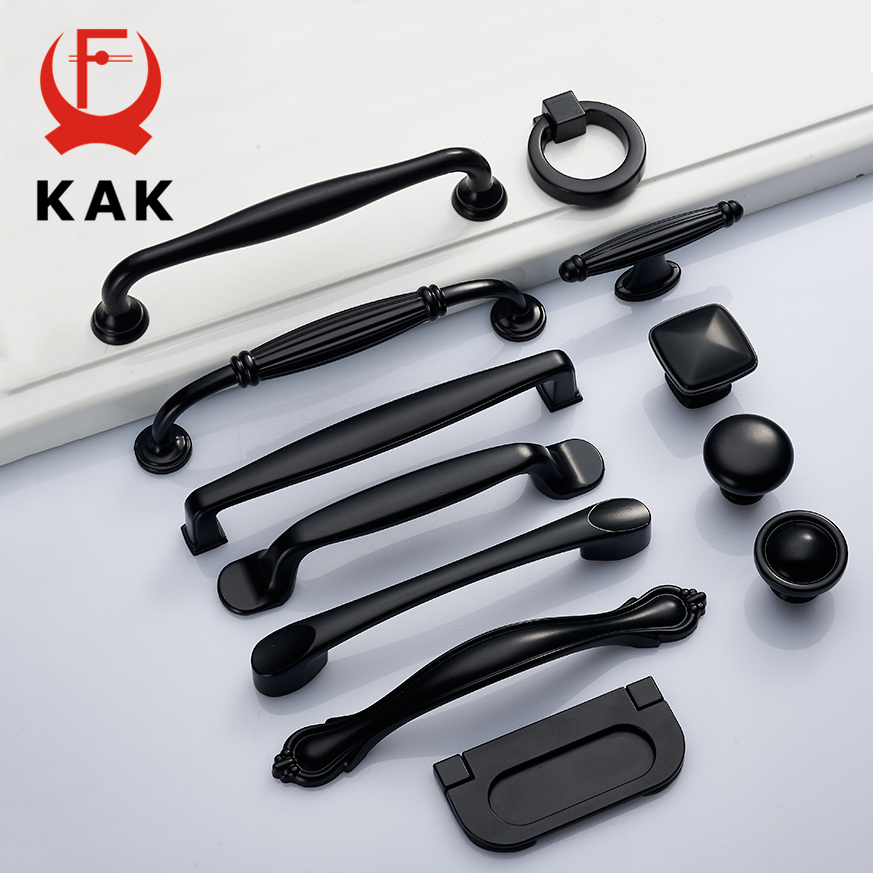 KAK 5pcs Zinc Alloy Black Cabinet Handles American Kitchen Cupboard Door Pulls Drawer Knobs Fashion Furniture Handle Hardware