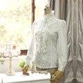 Verano de las mujeres Blancas de Manga Larga Real de Inglaterra Camisas de La Gasa Ocasional Camisa Blusa Coreana de Época de Gran Tamaño Cardigan Rosa Retro