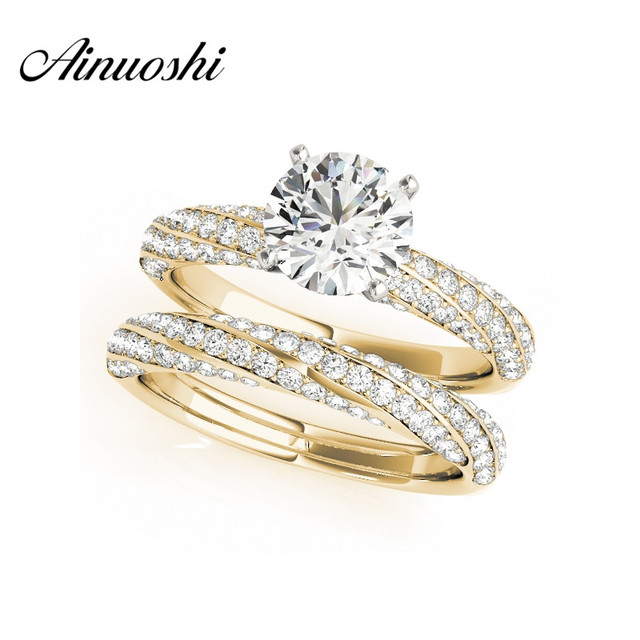 AINUOSHI 925 Sterling Silver Yellow Gold Color Twisted 4 Prongs Women Wedding  Ring Sets 1ct Engagement