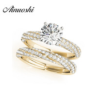 AINUOSHI 925 Sterling Silver Yellow Gold Color Twisted 4 Prongs Women Wedding Ring Sets 1ct Engagement Anniversary Ring Sets