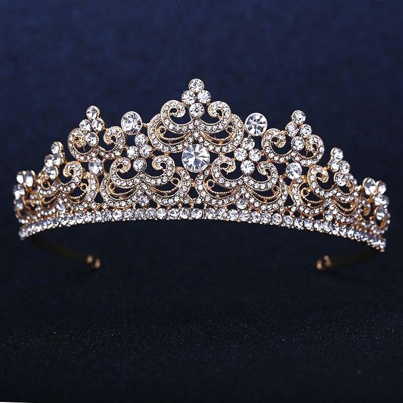 تيجان ملكية  امبراطورية فاخرة Rose-Gold-Plated-Wedding-Bridal-Bridesmaid-Flower-font-b-Girls-b-font-Crystal-font-b-tiara