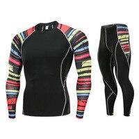 Men and Women Jogging Compression Sportswear MMA Rashgard Kit 2 Piece Gym Tights T shirt Running Set Sportswear for Men 4XL