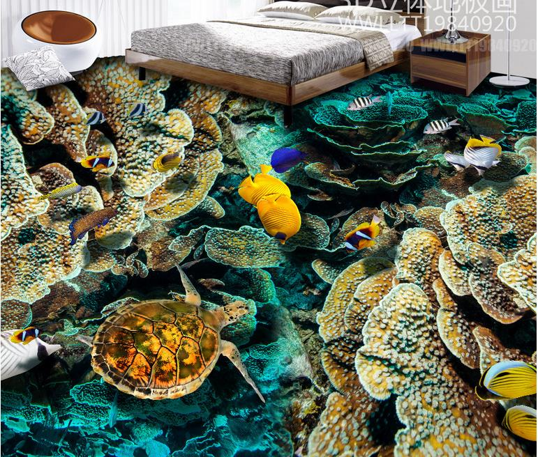 3d flooring custom 3d photo european wallpaper Turtle Coral vinyl flooring 3d wallpaper living room 3d floor tiles