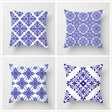 Fuwatacchi Blue Sea Geometric Pillow Cover Indian Style Floral Cushion Cotton Printed for Car Room Pillows 2019