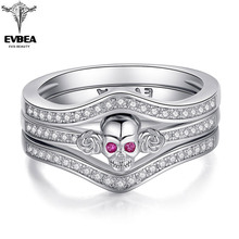 EVBEA 925 Silver Stackable Finger Ring For Women Fashion Original Men Skull Punk Rock Biker Rings Vintage Gothic Style vintage silver black tibetan punk rings glod round ring retro rock punk vampire skull ring men fashion jewelry