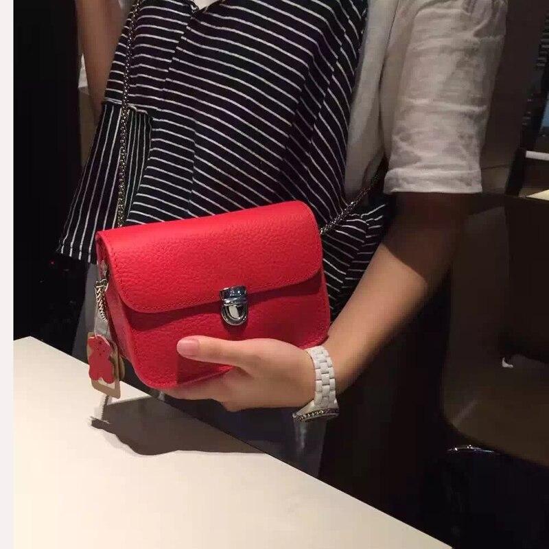 Телячья кожа мини-Для женщин Курьерские сумки 2017 хорошее качество Для женщин сумка дамы небольшой Клатчи цепи Для женщин Сумки через плечо