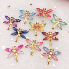 New 10pcs Resin Bling Colorful Dragonfly flatback rhinestone 1 Hole Ornaments DIY Wedding appliques craft SW80(China)