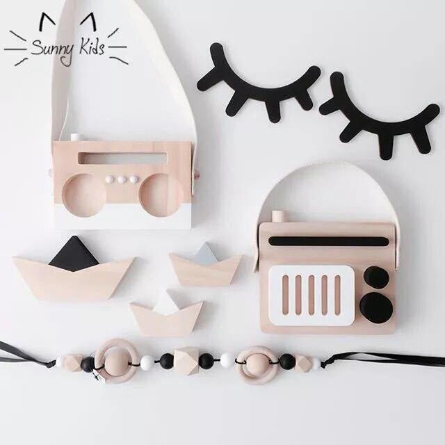2 pcs rzęsy naklejki ścienne dla dzieci dla dzieci chłopcy dziewczyny sypialni akcesoria 3D drewniane naklejki ścienne domu Ornament dekoracyjny prezenty