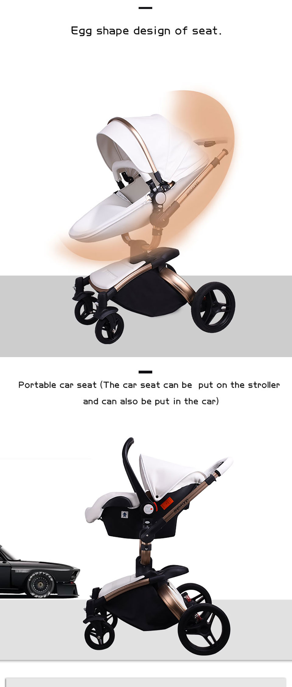 Egg Pram Replacement Wheels Details About 2019 Luxury Baby Stroller 3 In 1 High Landscape Pram Foldable Pushchair Car Seat